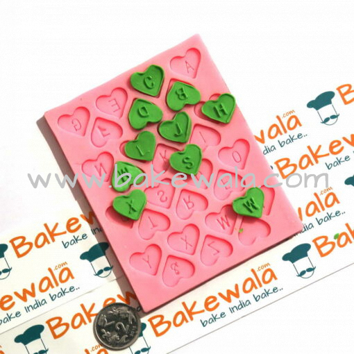 Silicone Mould - Hearts with letter imprint