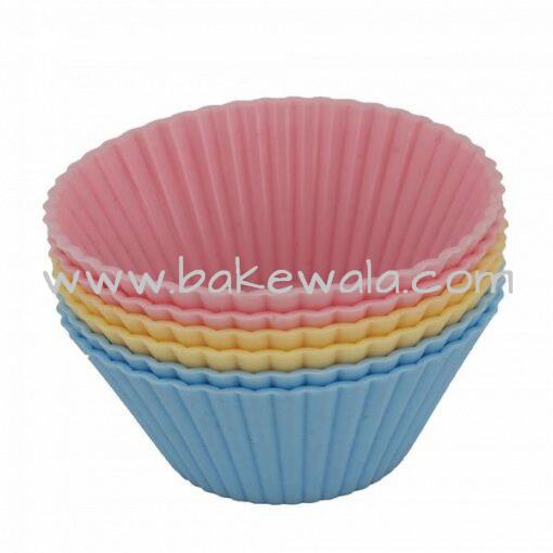 Silicone Round Cupcake Mould Diameter 70 mm Medium 6pcs set