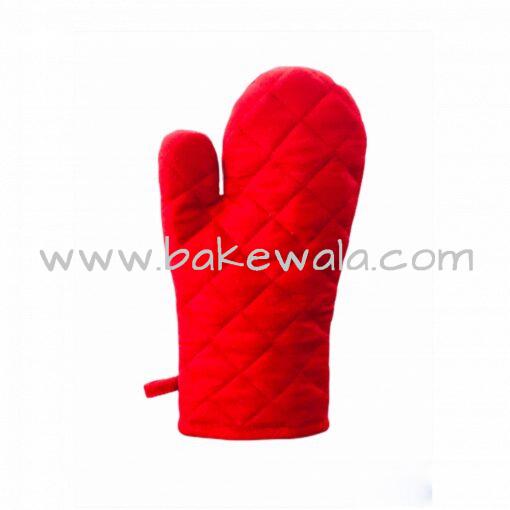 Cloth Oven Mitten or Kitchen Gloves - Red- 1 pc
